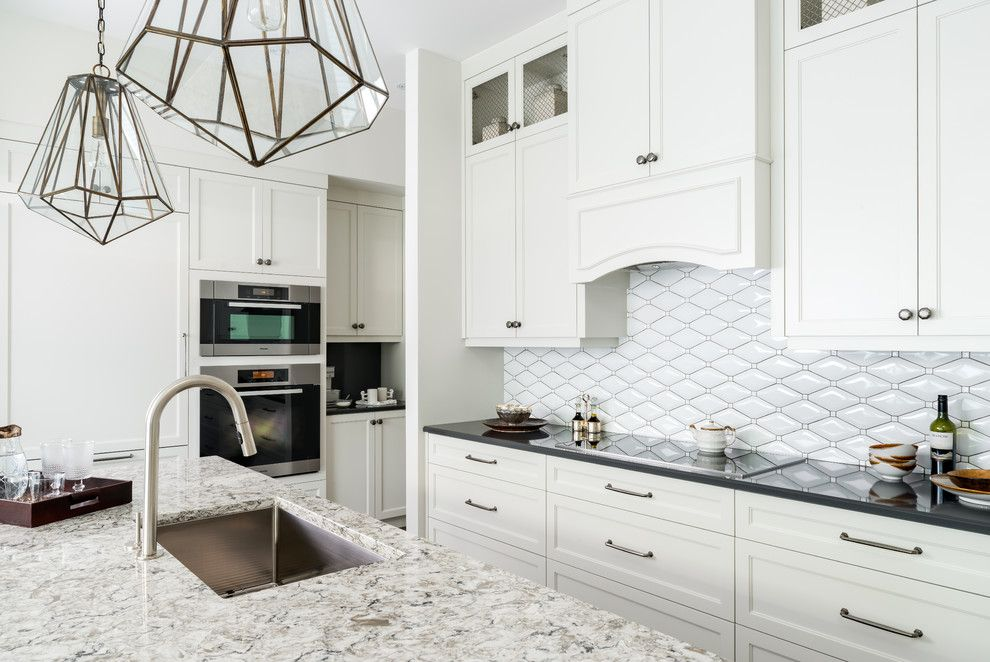 Coldspring Granite for a Contemporary Kitchen with a Island and Port Credit Lakefront Town Home by Toronto Interior Design Group | Yanic Simard