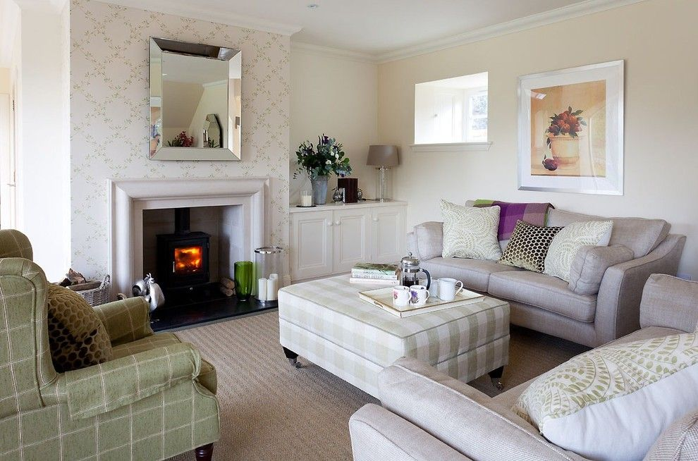 Colefax and Fowler for a Transitional Living Room with a Green and White Check Ottoman and Fife Steading Conversion by Robertson Lindsay Interiors