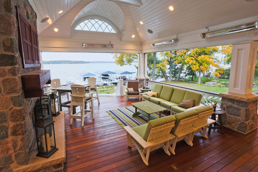 Coleman Furniture Reviews for a Traditional Porch with a View and Lake Geneva Screen Porch by Lake Geneva Architects