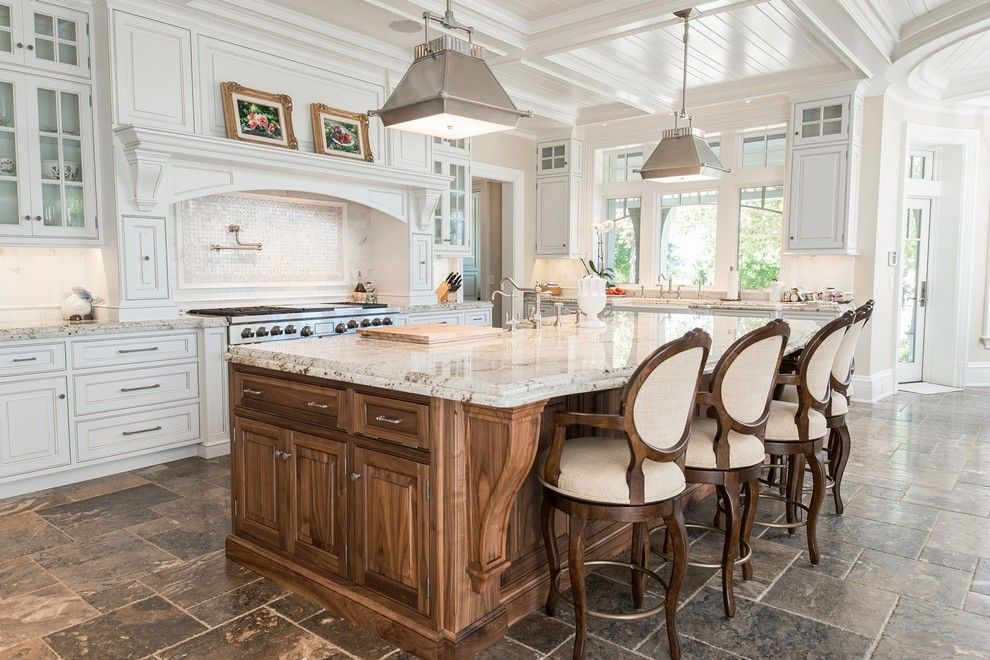 Colonial Cream Granite for a Traditional Kitchen with a White Chairs and Mendham Shingle Style Estate by Passacantando Architects Aia