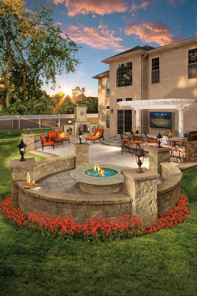 Colonial Gold Granite for a Contemporary Spaces with a Pergola and Cambridge Pavingstones with Armortec by Cambridge Pavingstones with Armortec