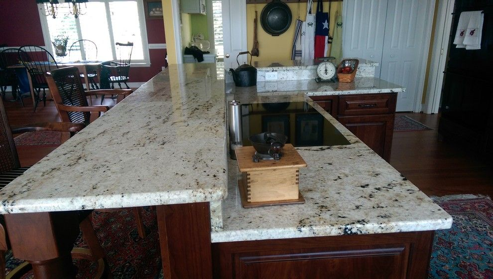 Colonial Gold Granite for a Mediterranean Spaces with a Light Granite Countertops and Colonial Gold Granite Project by Granite Works Countertops