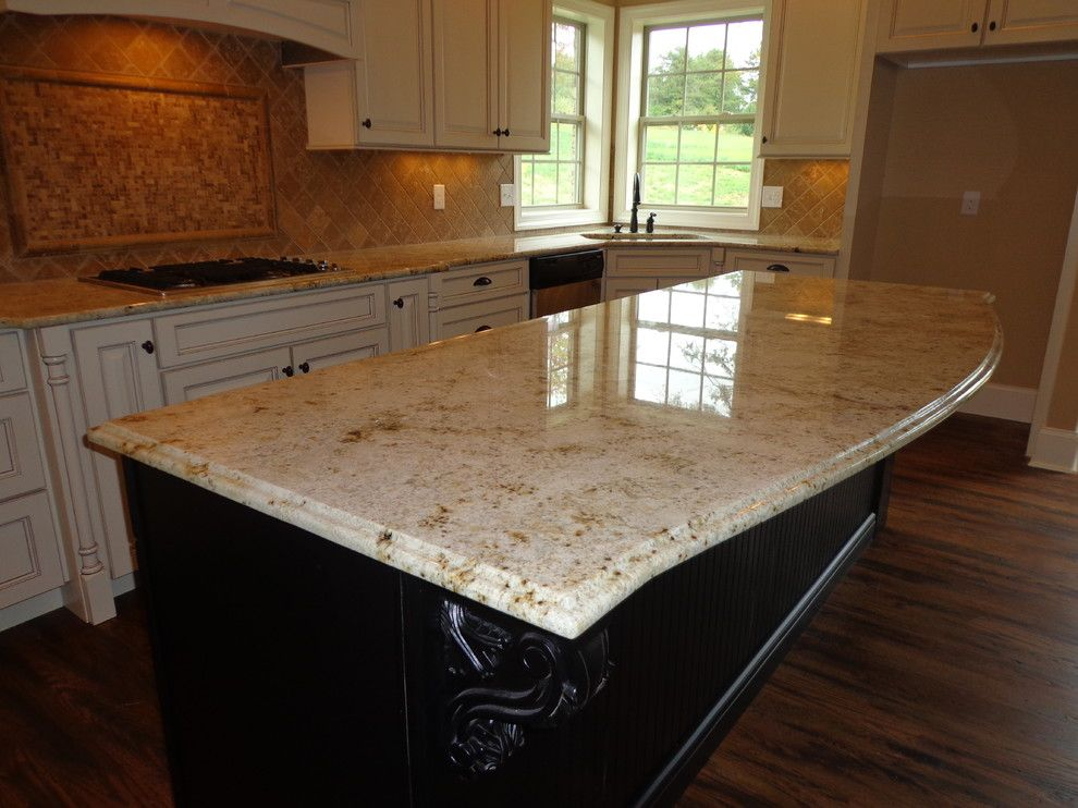 Colonial Gold Granite for a Traditional Kitchen with a Traditional and Schaad Kensington 58 by Knoxville's Stone Interiors
