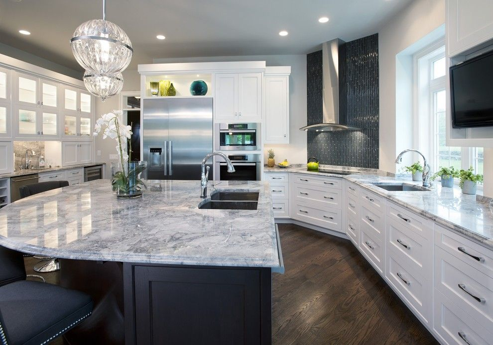 Colonial White Granite for a Contemporary Kitchen with a Recessed Lighting and Plato Woodwork - Wilmington Project by Main Street Cabinet Co.
