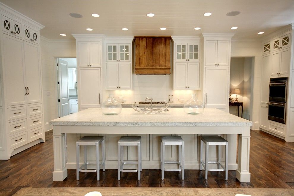 Colonial White Granite for a Traditional Kitchen with a Ceiling Lighting and Northway by Castro Design Studio