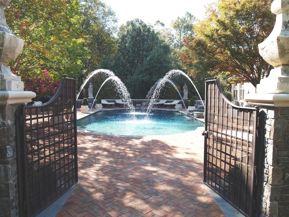 Concord Pools for a Traditional Pool with a Urn and Ascott Project by Lewis  Aquatech