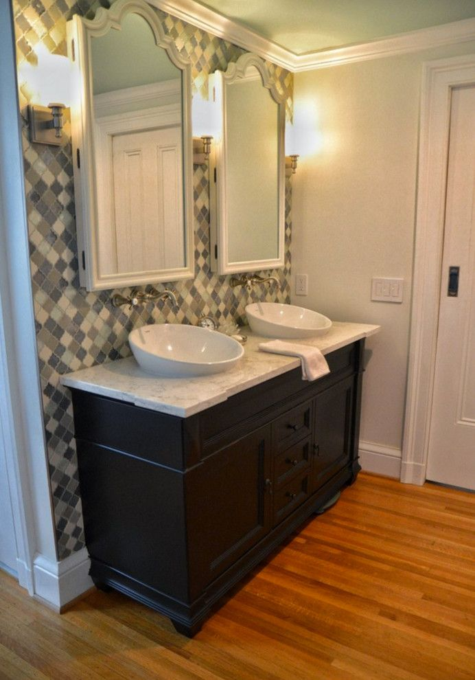 Concrete Countertop Solutions for a Traditional Bathroom with a Moen and Pittsford, Ny Traditional White Bathroom by Innovations by Vp