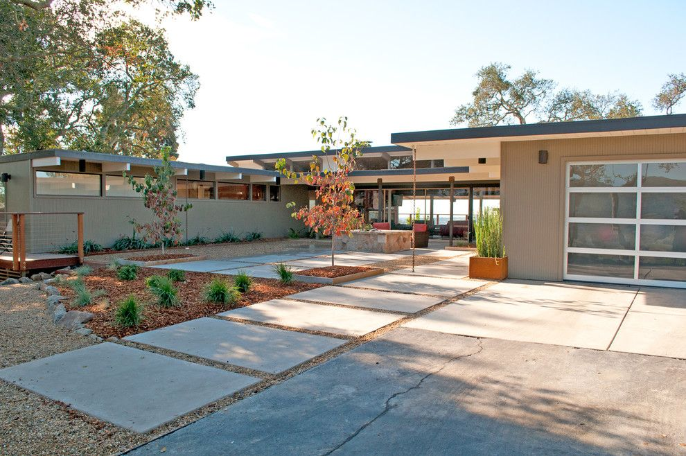 Concrete vs Asphalt for a Midcentury Exterior with a Floor to Ceiling Windows and Our 1954 Mid Century Ranch Home, Napa, Ca by Michelle