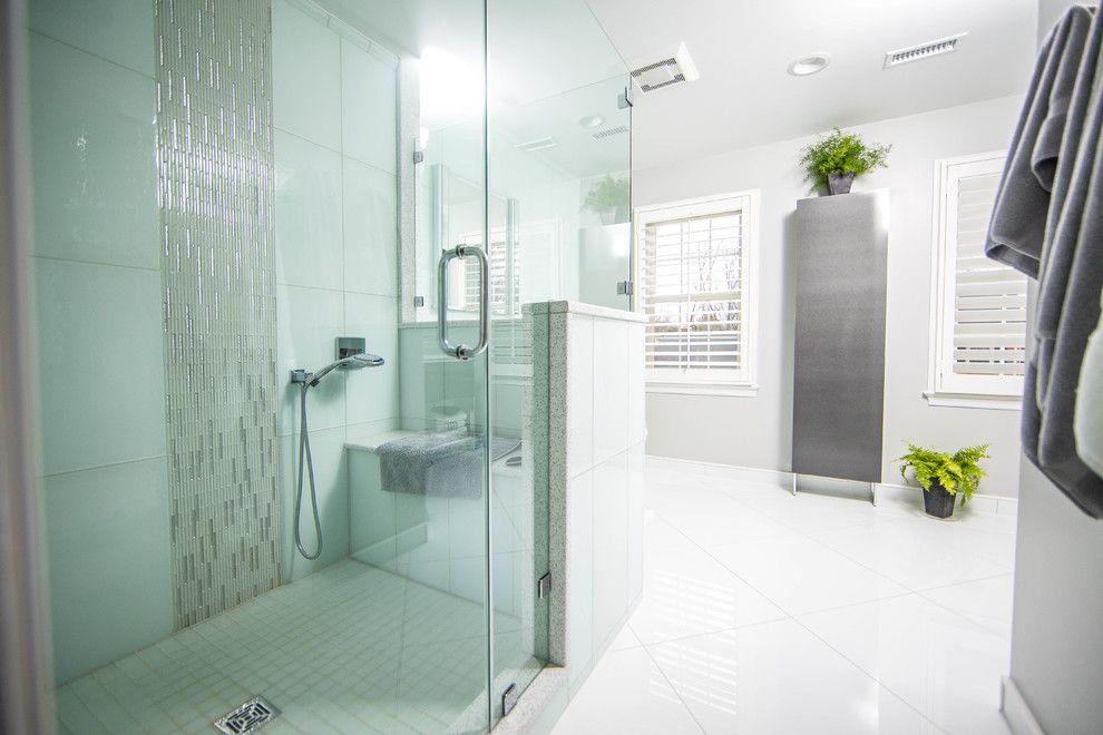 Conestoga Tile for a Contemporary Bathroom with a Glass Tiles and Bathrooms by Conestoga Tile