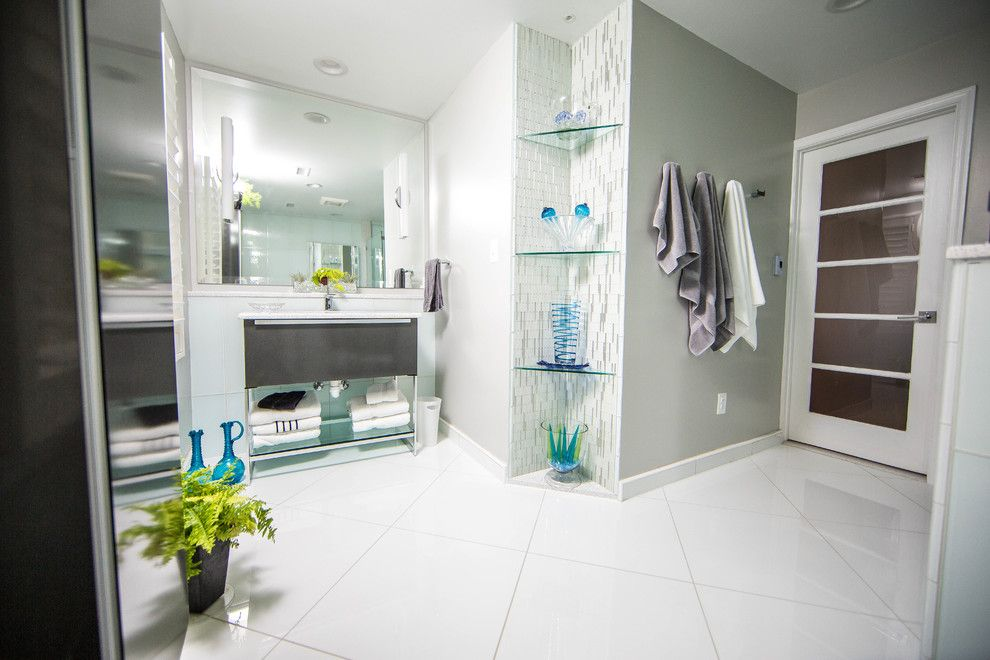Conestoga Tile for a Contemporary Bathroom with a Large Format Glass Tile and Bathrooms by Conestoga Tile