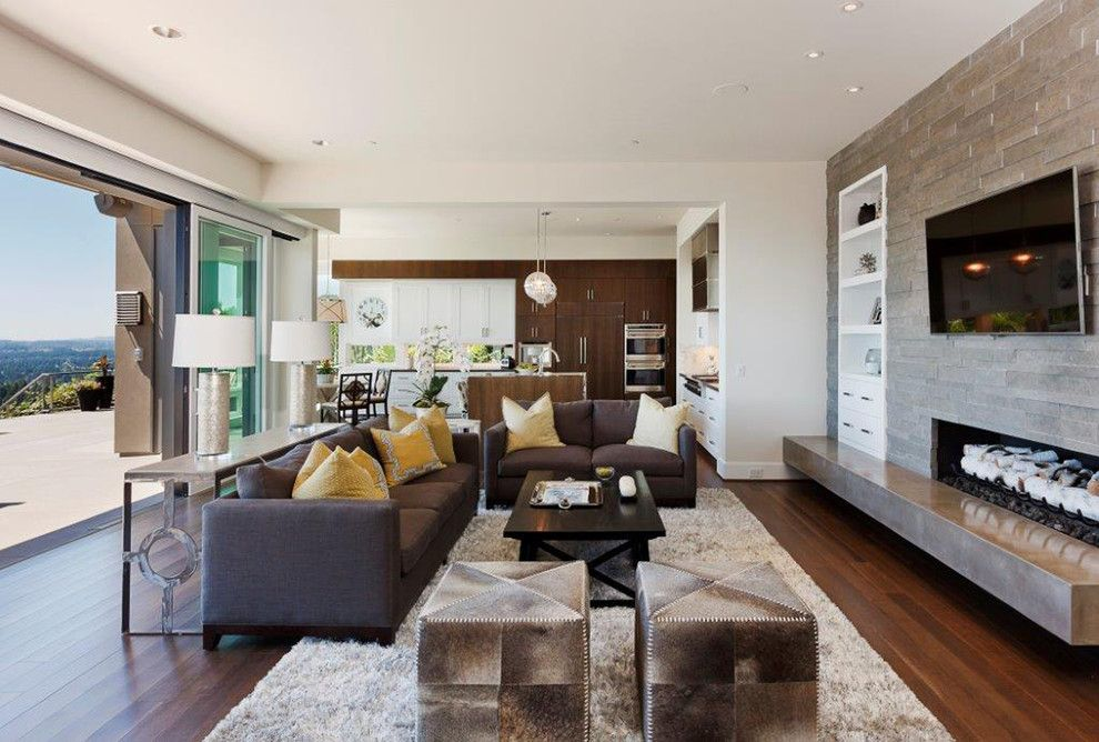 Contract Furnishing Mart for a Contemporary Living Room with a Dark Wood Cabinets and Northwest Contemporary Home by Contract Furnishings Mart