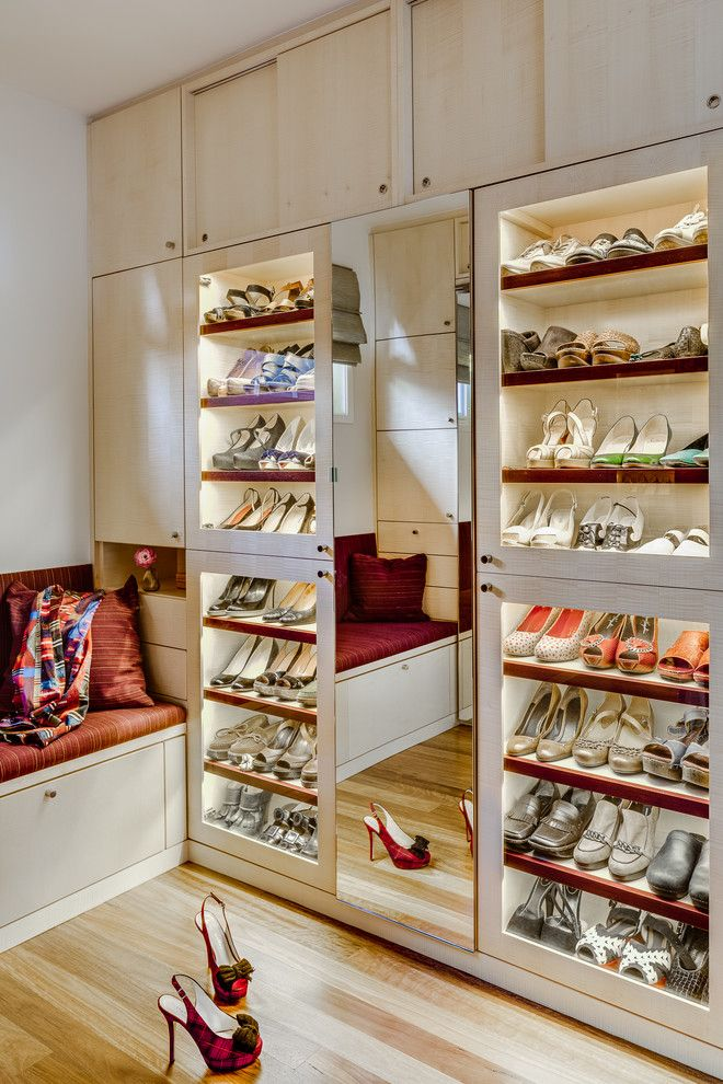 Contractors Wardrobe for a Contemporary Closet with a Full Length Mirror and Palo Alto Closet by Floriana Interiors
