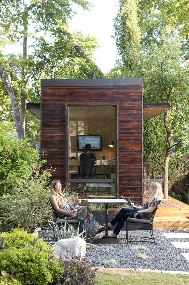 Core Power Yoga Austin for a Modern Shed with a Shou Sugi Ban and 92 Square Foot Backyard Office by Sett Studio