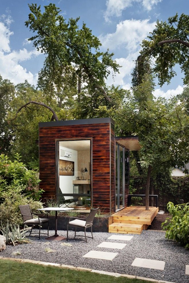 Core Power Yoga Austin for a Modern Shed with a Steps and 92 Square Foot Backyard Office by Sett Studio