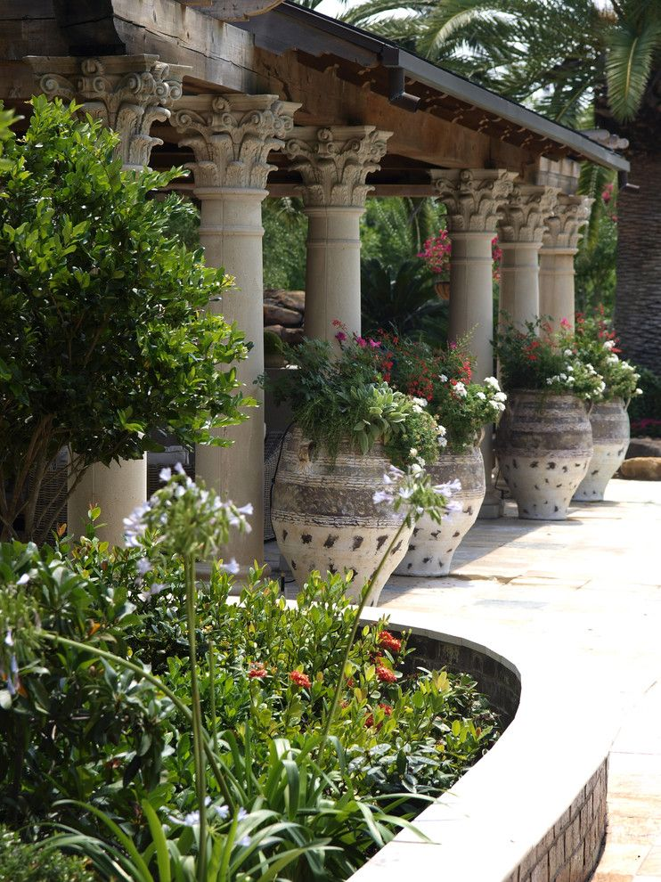 Corinthian Column for a Mediterranean Landscape with a Potted Plants and Seetwater by L3 Designs