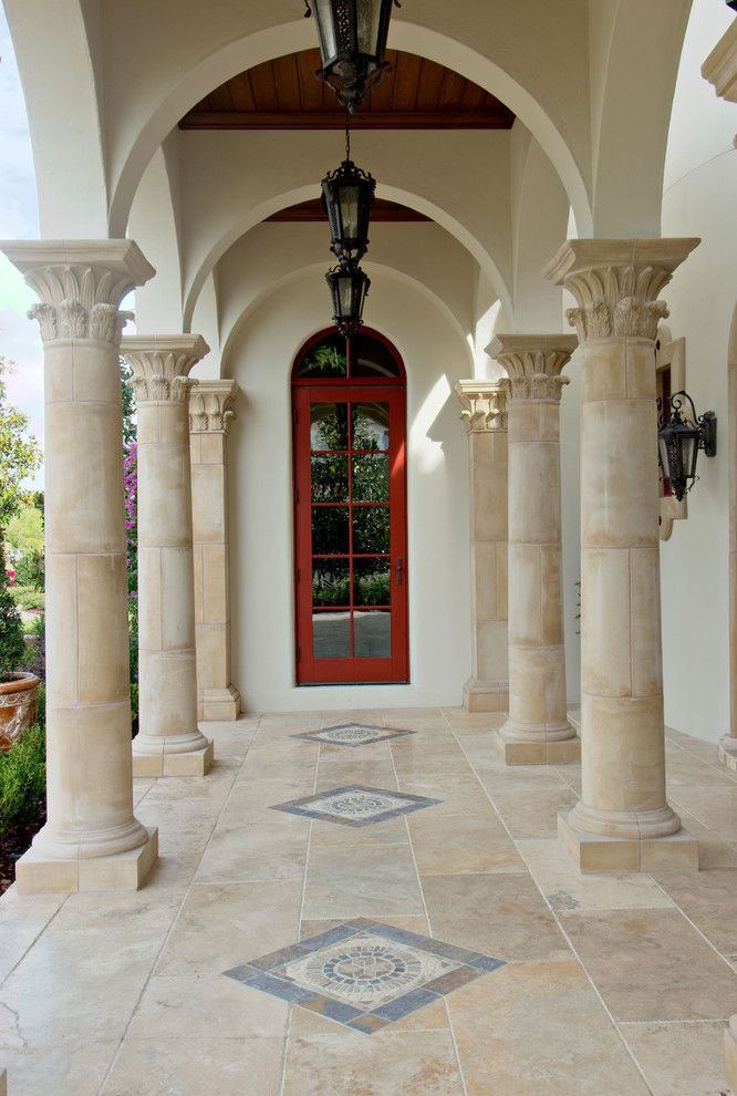 Corinthian Column for a Mediterranean Porch with a Tan Tile and 2007 Builder's Magazine Insync Home by Keesee Associates