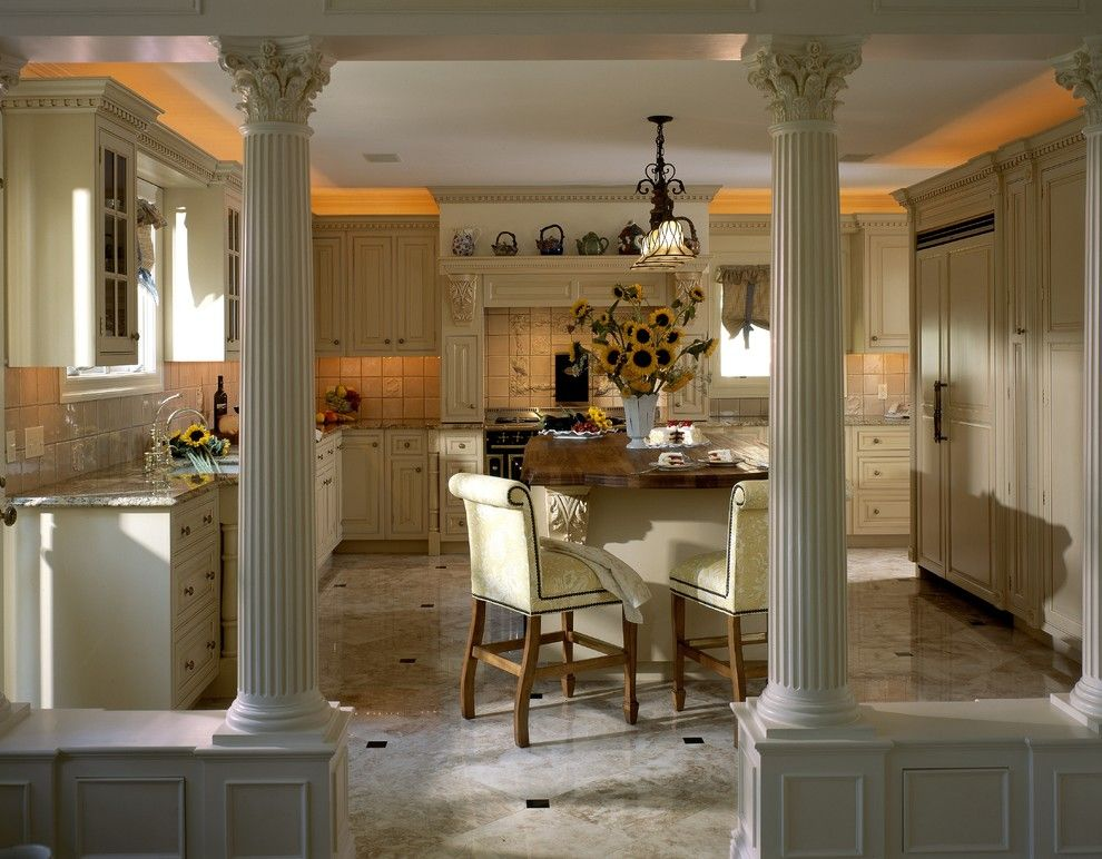 Corinthian Column for a Traditional Kitchen with a Island and English Country Elegant Kitchen New York by Kuche+Cucina