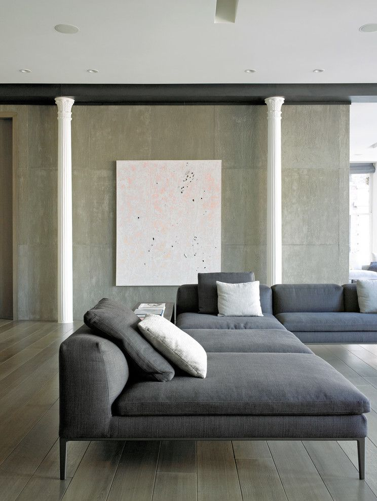 Corinthian Columns for a Contemporary Living Room with a Loft Apartment and Bond Street Loft by Axis Mundi