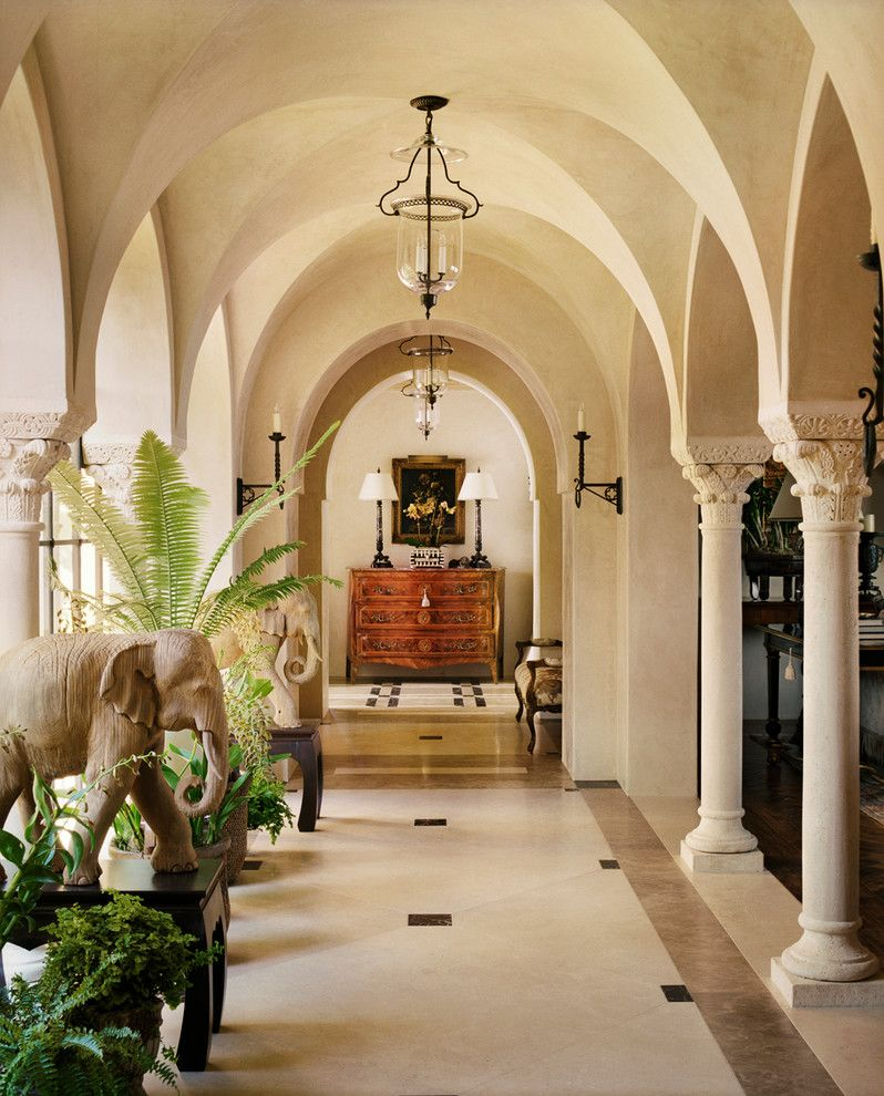 Corinthian Columns for a Mediterranean Hall with a Italianate and Hilltop Villa by Tucker & Marks