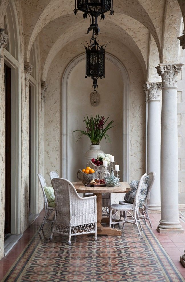 Corinthian Columns for a Mediterranean Patio with a Water Fountain and Commodore Perry Estate by LOFThome.com