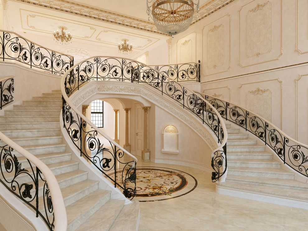 Corinthian Columns for a Traditional Staircase with a Nosing and Portfolio by Pdg Interior Design by Marina Gorelova