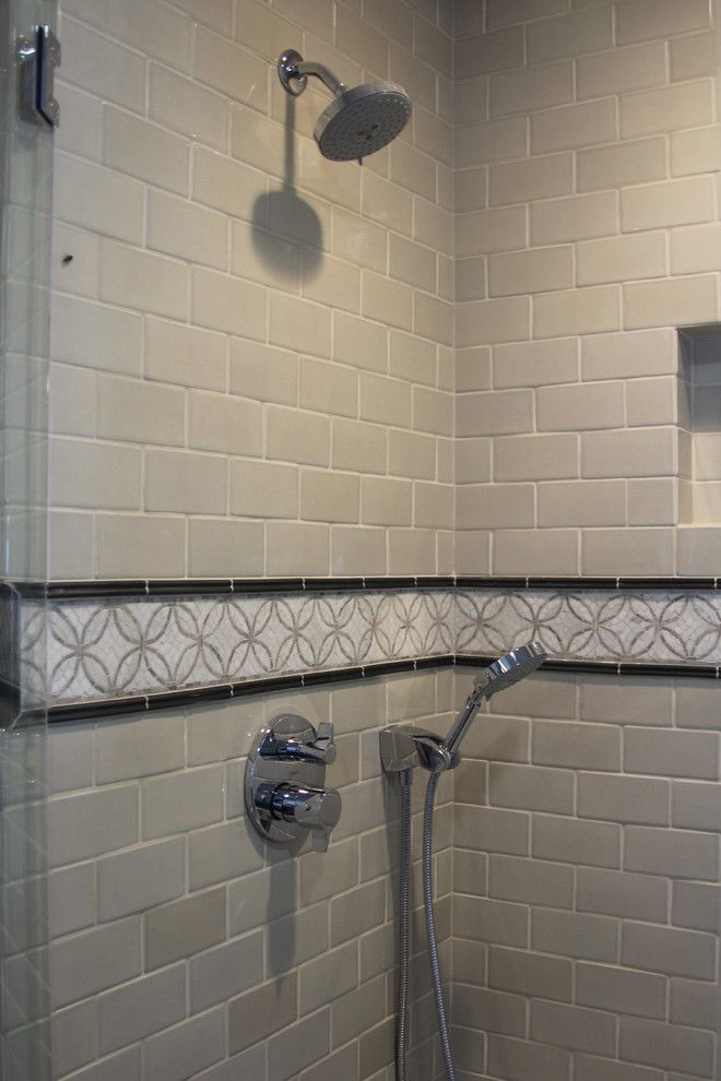 Cosa Marble for a Mediterranean Bathroom with a Stone Mosaic Border and San Mateo Residence by Da Vinci Marble