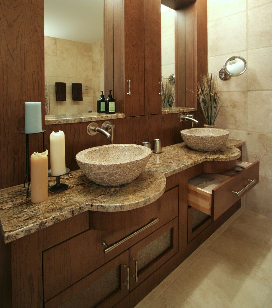 Cosa Marble for a Modern Bathroom with a Vanity Mirror and Lodge  Contemporary Master by Angie Keyes Ckd