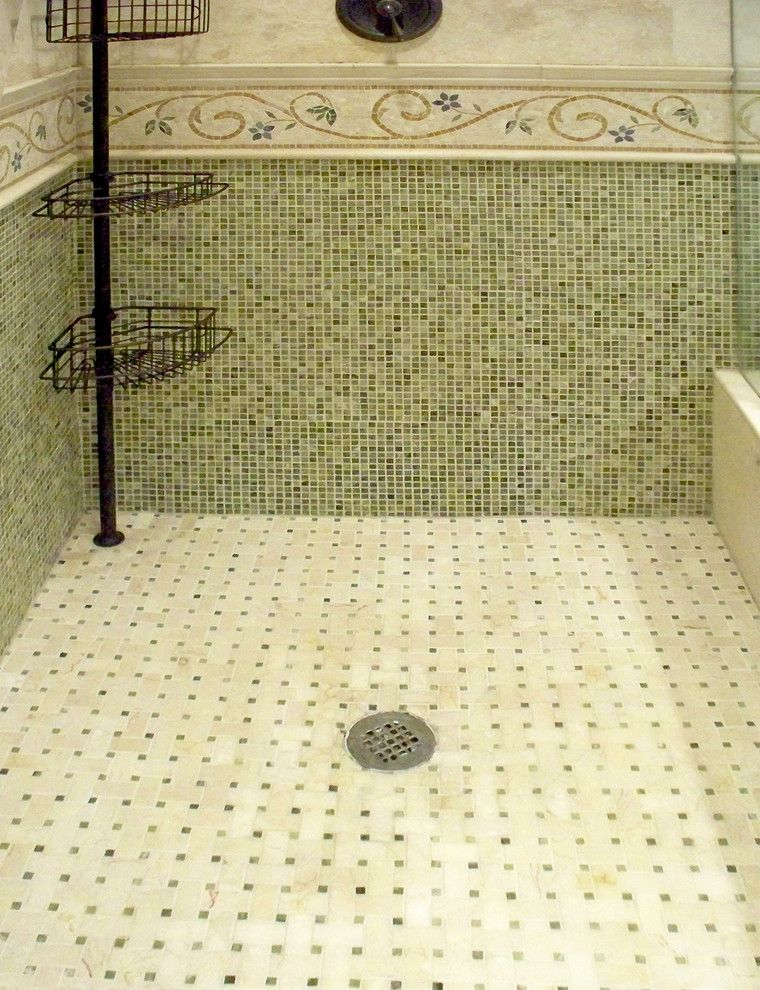 Cosa Marble for a Traditional Bathroom with a Green Bathroom and Ming Green Marble Master Bath Remodel by Plc Interiors
