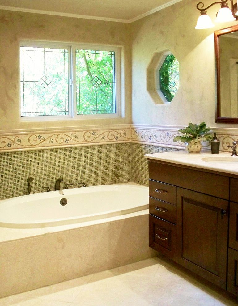Cosa Marble for a Traditional Bathroom with a Luxury Bathroom and Ming Green Marble Master Bath Remodel by Plc Interiors