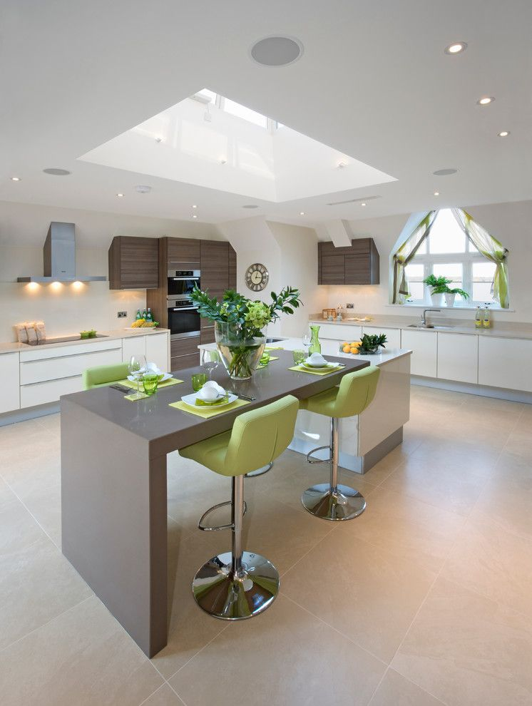 Cosmos Granite for a Contemporary Kitchen with a Beige Floor Tile and Cosmos Quartz Expressions by Cosmos Granite & Marble