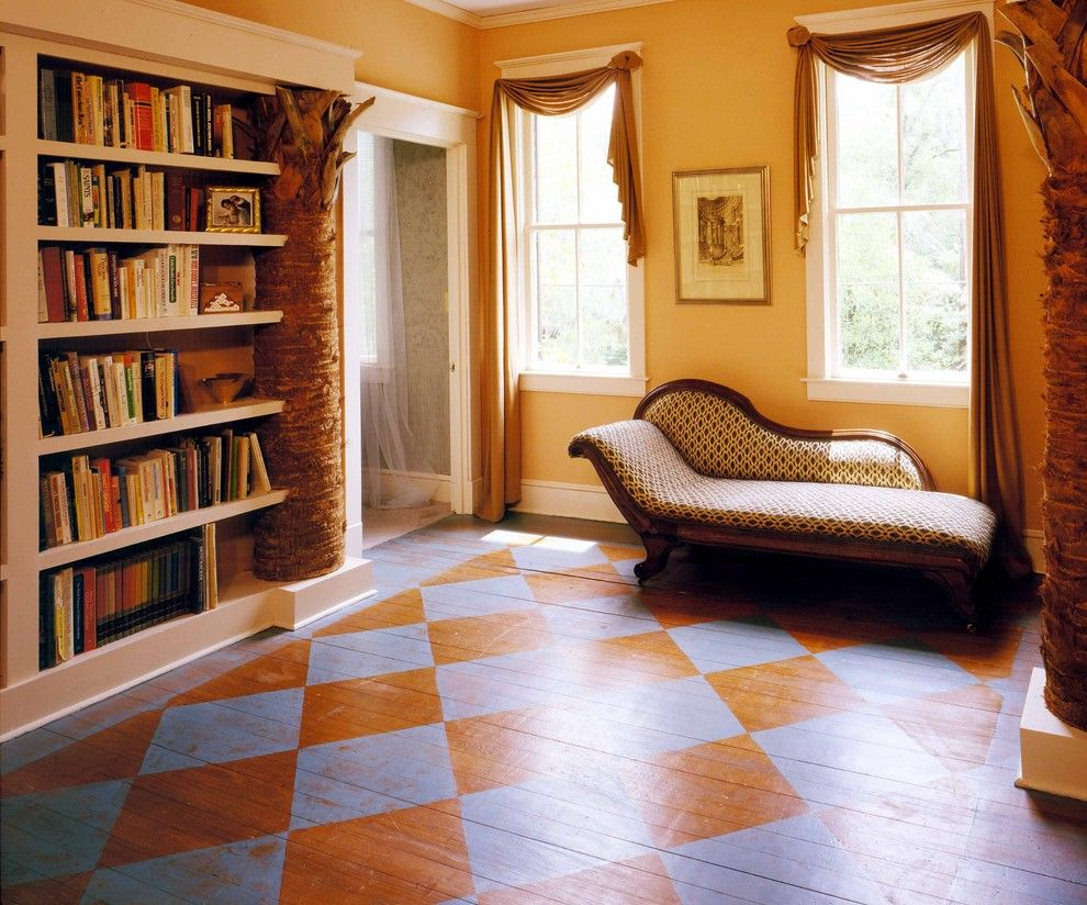 Cost to Refinish Hardwood Floors for a Eclectic Hall with a Fainting Couch and Palmetto Tree Bookcase by Frederick + Frederick Architects