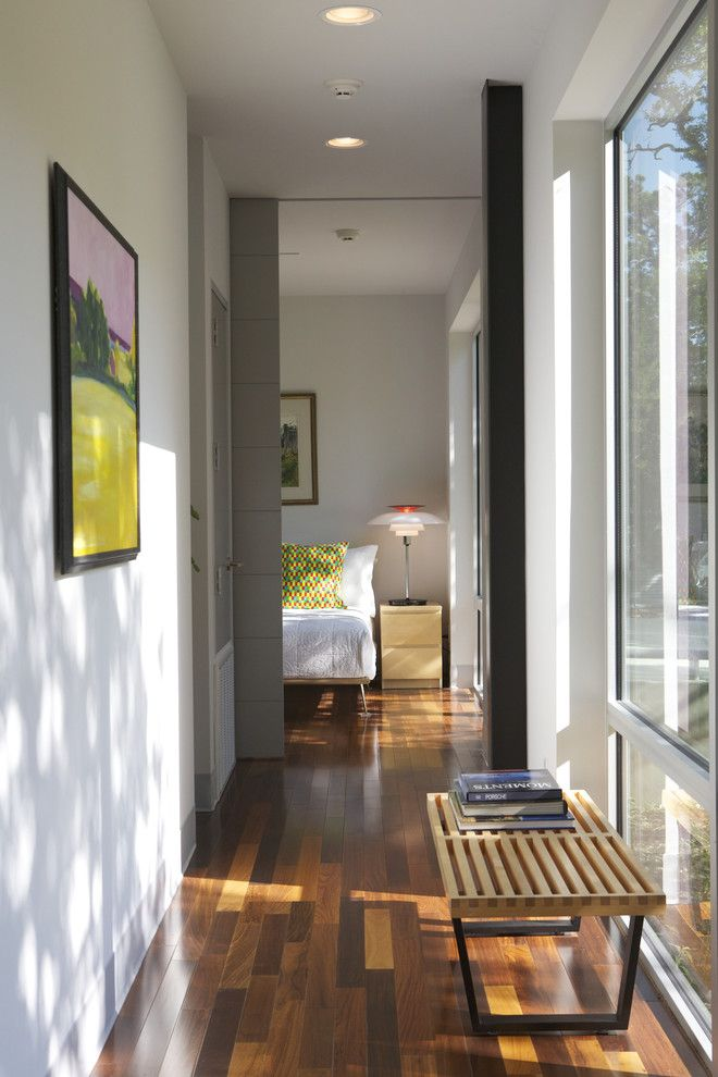 Cost to Refinish Hardwood Floors for a Modern Hall with a Neutral Colors and Caudill Lane by Webber + Studio, Architects