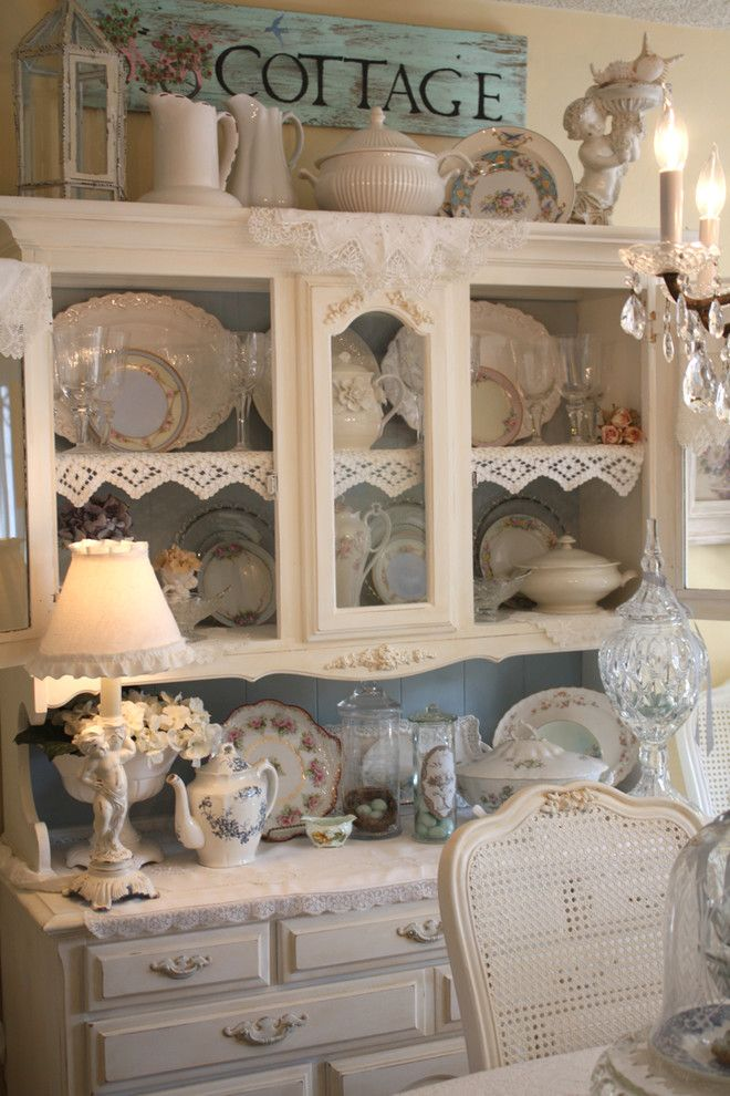 Costco Cabinets for a Shabby Chic Style Dining Room with a China and Romantic Home by My Romantic Home