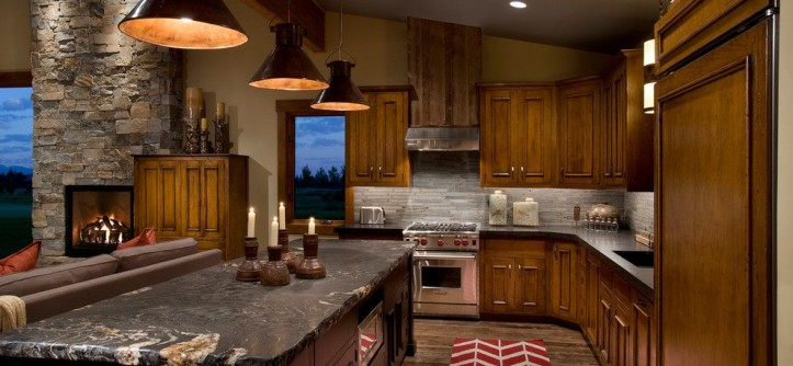 Countertop Edges for a Contemporary Kitchen with a Vaulted Ceiling and Wilderness Club by Hunter and Company Interior Design