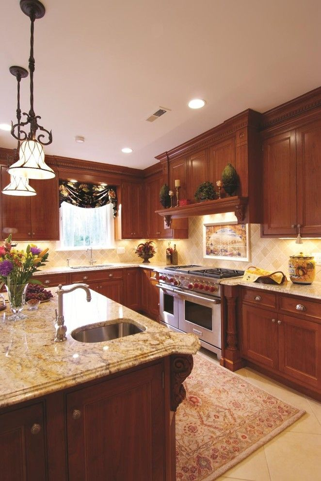 Countertop Edges for a Traditional Kitchen with a Under Cabinet Lighting and Snell Kitchen 2 by Cameo Kitchens, Inc.