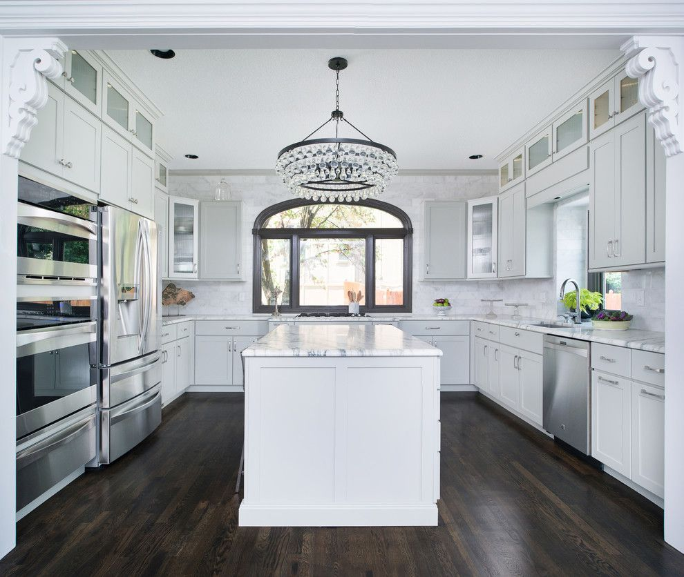 Courtland Hearth for a Traditional Kitchen with a White Kitchen and Contemporary Rustic Kitchen & Hearth Room Remodel in Leawood by Schloegel Design Remodel