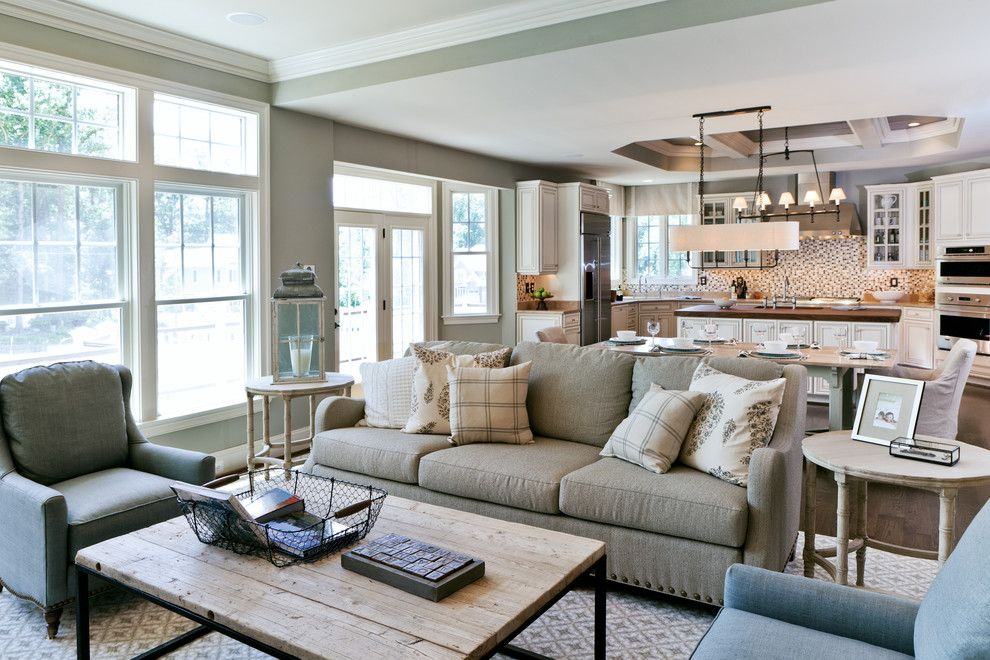 Courtland Hearth for a Transitional Living Room with a Throw Pillows and Dream House Studios, Inc. by Dream House Studios