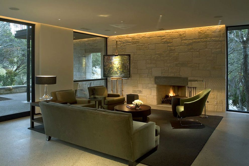 Coved Ceiling for a Contemporary Living Room with a Fireplace Surround and Contemporary Living Room by Cuppettarchitects.com