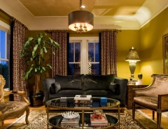 Coved Ceiling for a Eclectic Living Room with a Gold and Living Room by Chris Jovanelly Interior Design