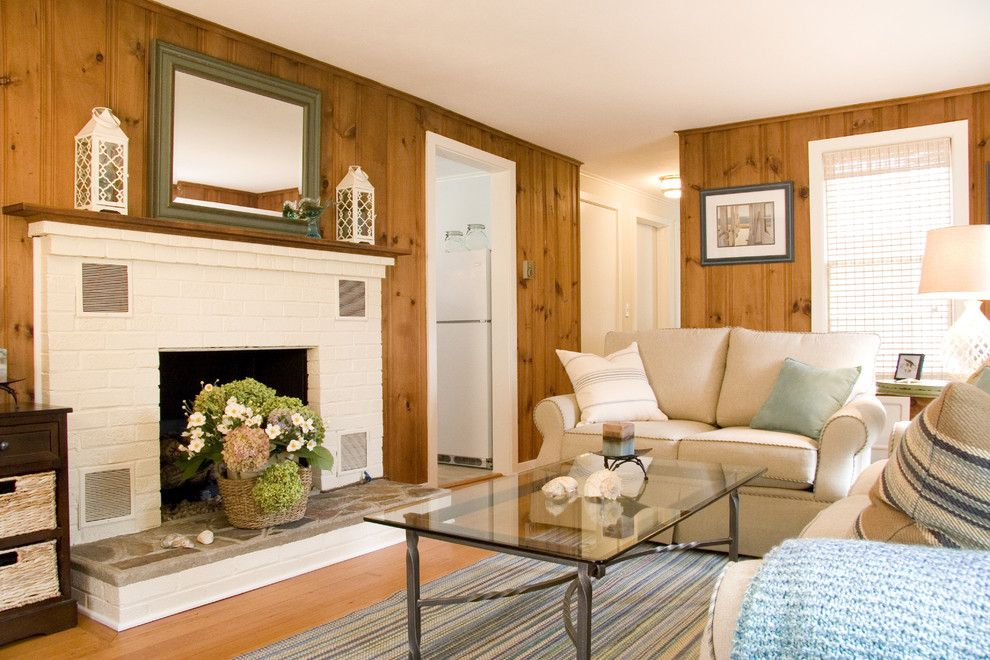 Craftmaster Doors for a Traditional Living Room with a Brick Fireplace Surround and Beach Cottage Living Room by Judy Cook Interiors, Llc