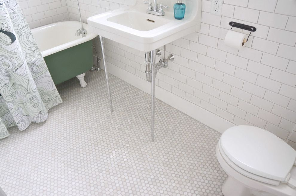 Craftsman Bungalow for a Craftsman Bathroom with a Bathroom Storage and Craftsman Bungalow by Copper Dot Interiors
