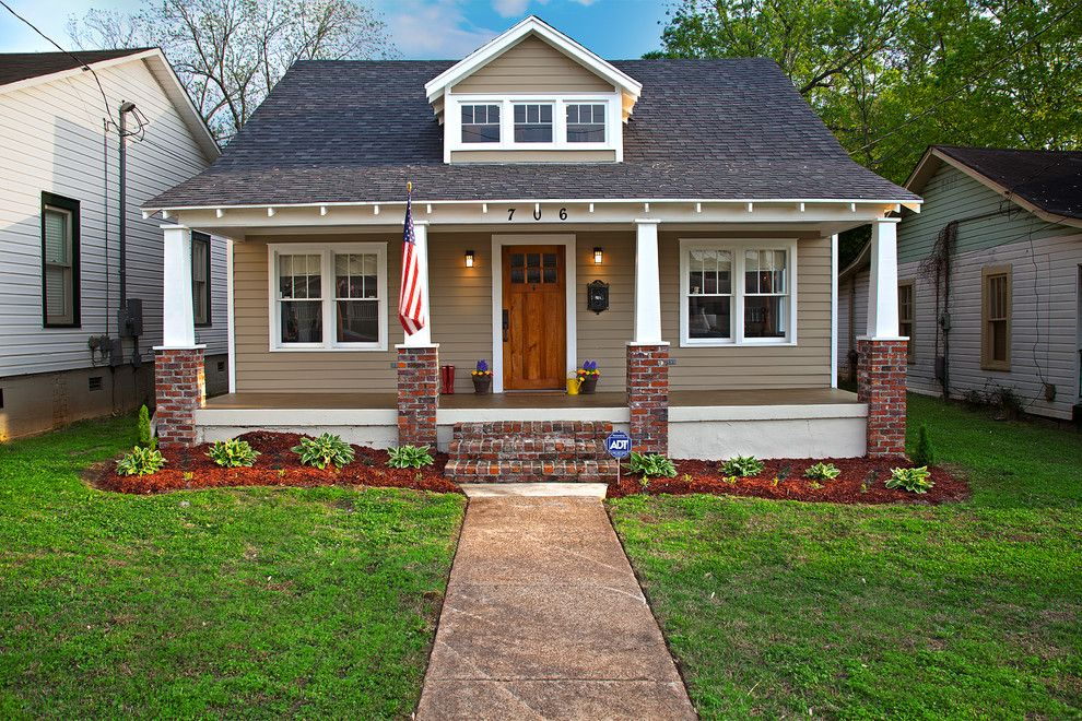 Craftsman Bungalow For A Exterior With Red Brick Pillar And Historic Home Renovation By