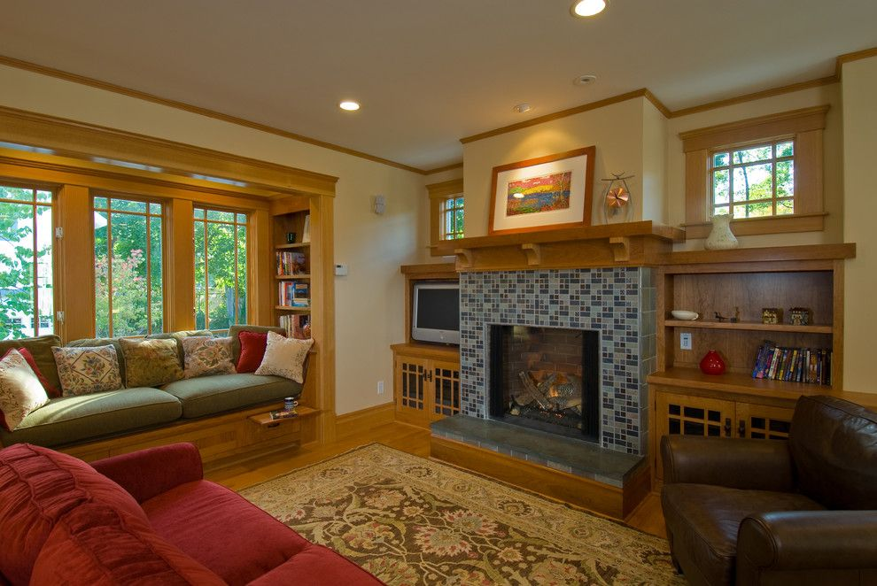 Craftsman Window Trim for a Craftsman Family Room with a Area Rug and Burns Park Addition & Remodeling, 2000 & 2006 by Studio Z Architecture