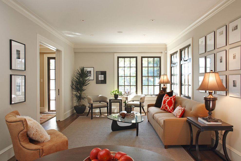 Craftsman Window Trim for a Transitional Living Room with a Classic and Classical Twist: A Modern Townhouse with Traditional Reference by Matthew Maccaul Turner