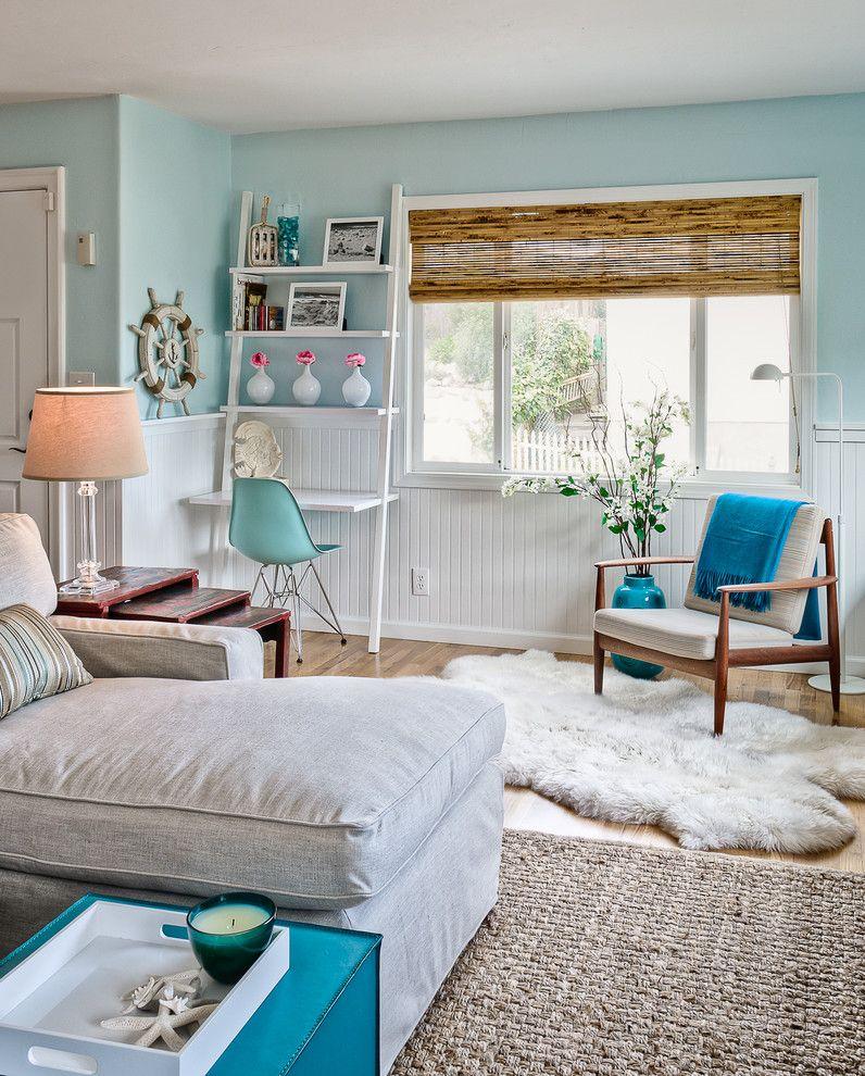Craigslist San Luis Obispo for a Beach Style Living Room with a White Ladder Shelf and Sabrina Alfin Interiors, Monterey Beach House by Dean J. Birinyi Photography