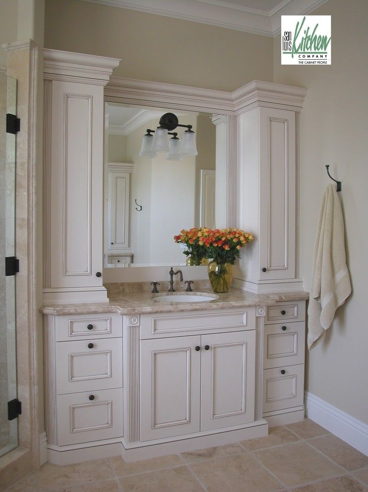 Craigslist San Luis Obispo for a Mediterranean Bathroom with a Master Bath and San Luis Kitchen Co., Classic Old World by San Luis Kitchen Co.