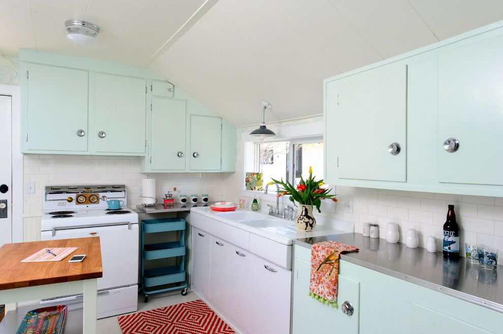 Craigslist Sby for a Midcentury Kitchen with a Subway Tile Backsplash and Shack Attack by Sarah Phipps Design