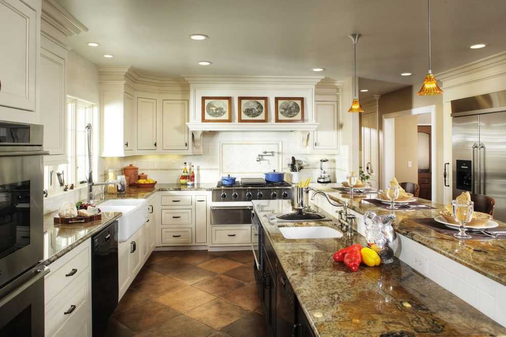 Crema Pearl Granite for a Traditional Kitchen with a Range Hood and Kitchen by Debbie R. Gualco