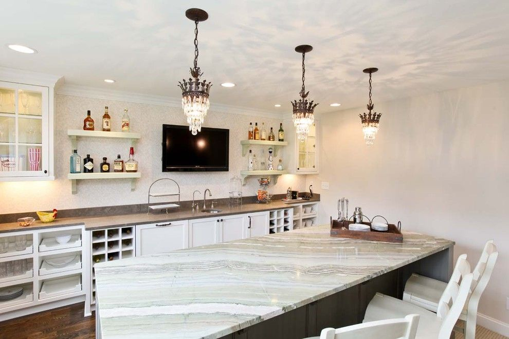 Crema Pearl Granite for a Traditional Kitchen with a Wine Storage and Cottage Chic Bar by Refined Llc