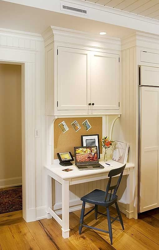Crown Point Cabinetry for a Traditional Kitchen with a Custom Desk and Crown Point Cabinetry by Crown Point Cabinetry